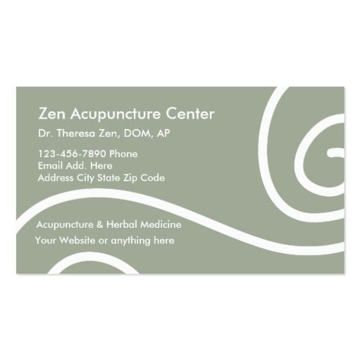 Acupuncture medical business cards chinese medicine for Acupuncture business cards