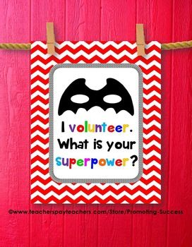 End of the School Year Gift for Volunteer: This printable superpower poster features a red chevron background, black mask, and the superpower quote: I volunteer. What is your superpower?
