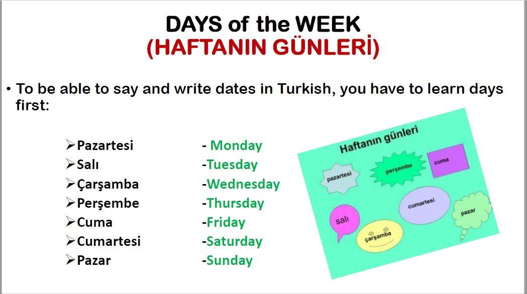 Days Dates In Turkish Learn Turkish Language Learn Turkish Turkish Language