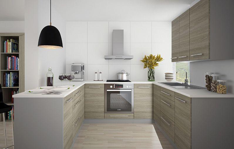 Küchenblock Küchenzeile Komplett Küche UForm 9tlg. grau