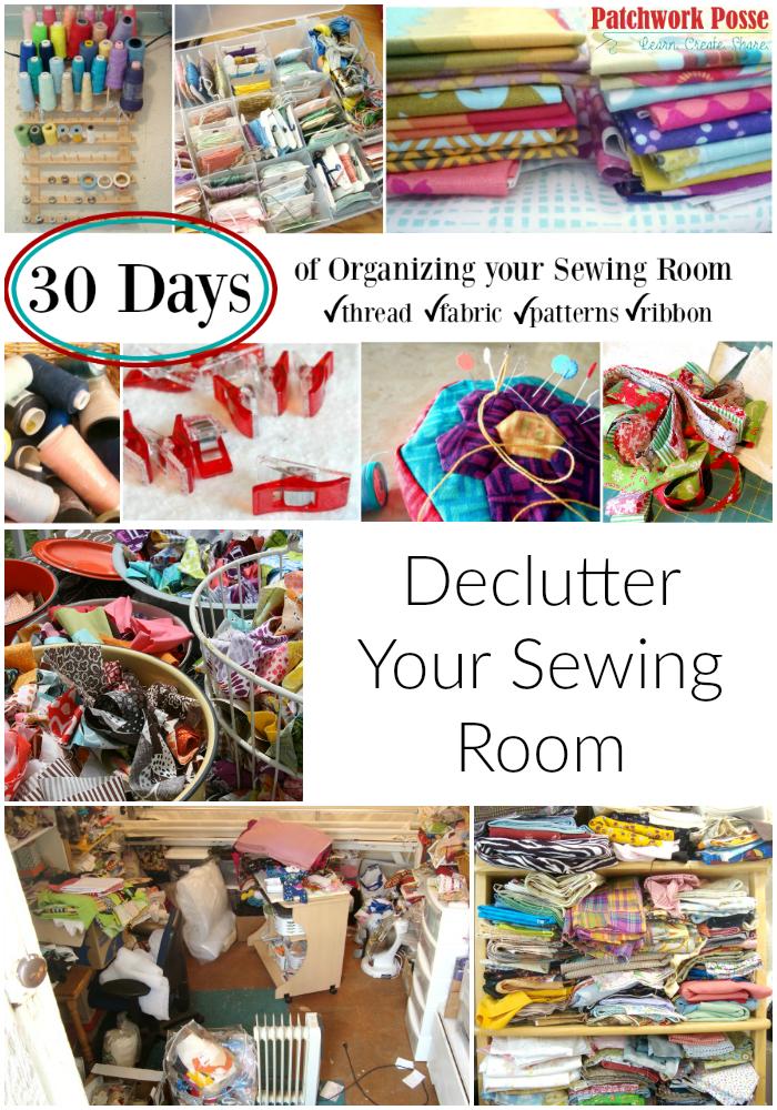 het organiseren van uw naaiatelier en creatieve ruimte.  30 dagen van ideeën en inspiratie www.patchworkposse.com declutter uw naaikamer