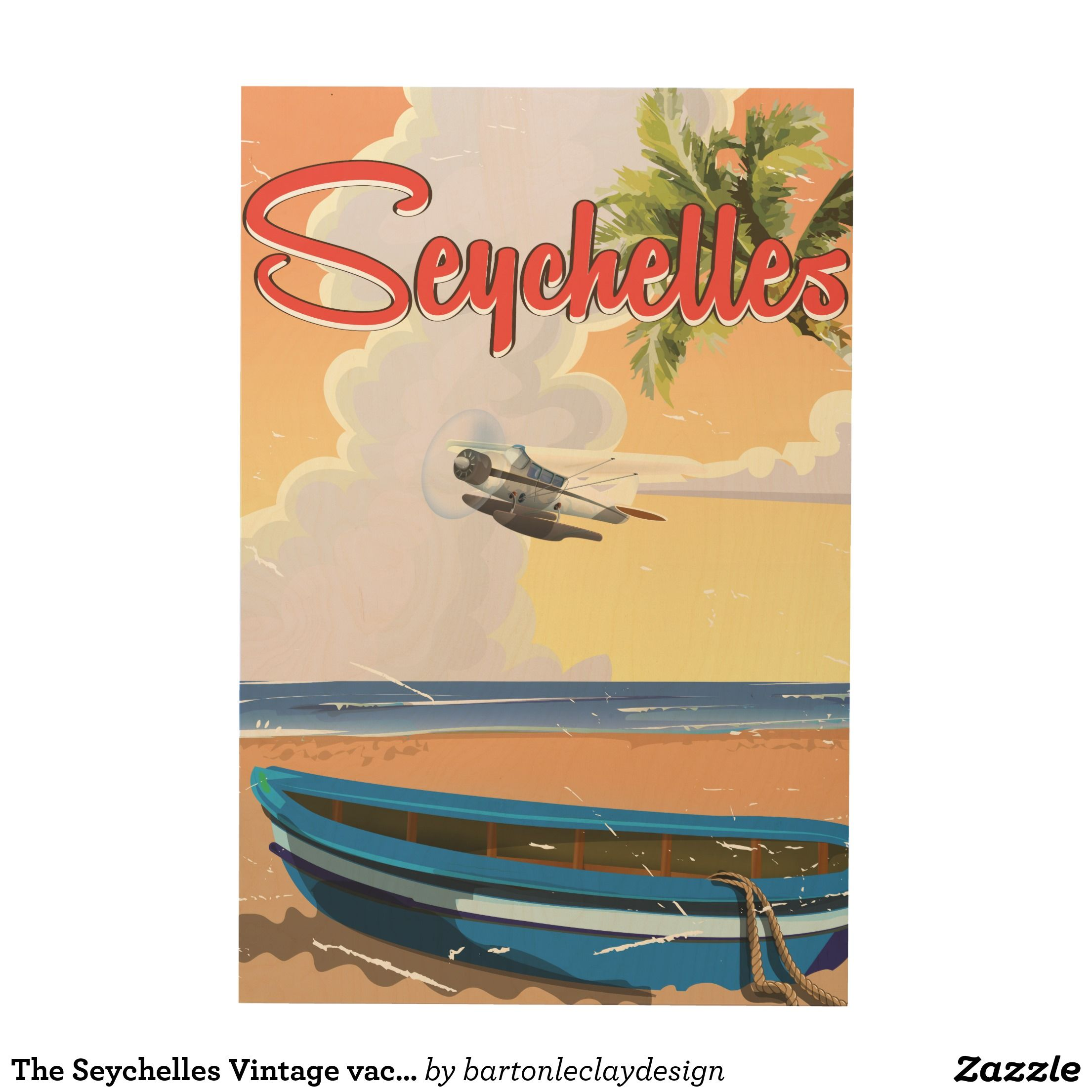 The Seychelles Vintage vacation Poster Wood Wall Art | Travel ...