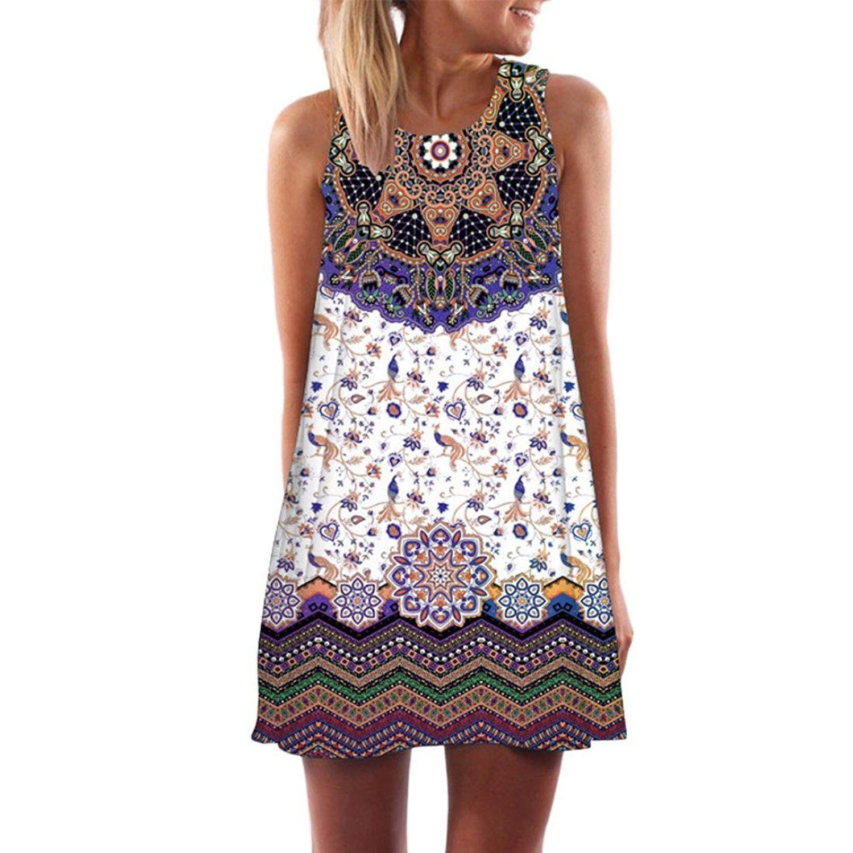 f1e04d9641e5 Amazon.com: KMG Kimloog Women's O-Neck Boho Sleeveless Summer Beach  Sundress Floral Printed Casual T-Shirt Short Mini Dress (S, J): Clothing