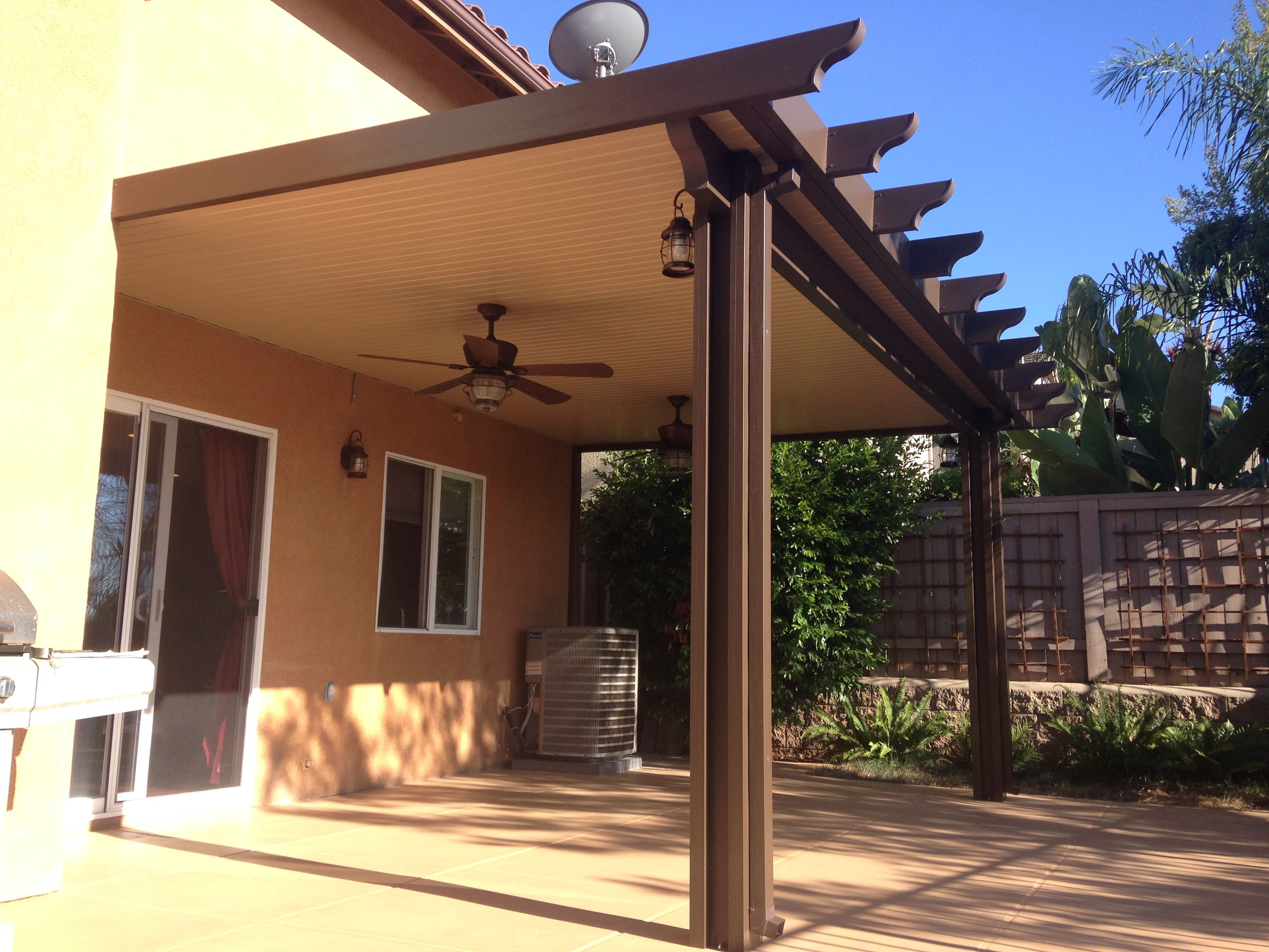 Exterior Design Beautiful Exterior Design With Alumawood Patio Cover Plus Ceiling Fan And Light Plus Glass Front Door Patio Covered Patio Back Porch Designs