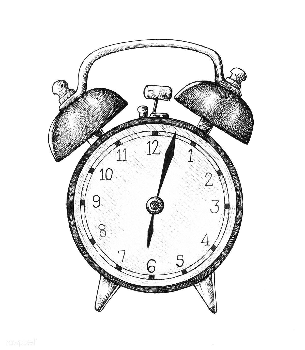 Handdrawn alarm clock illustration free image by