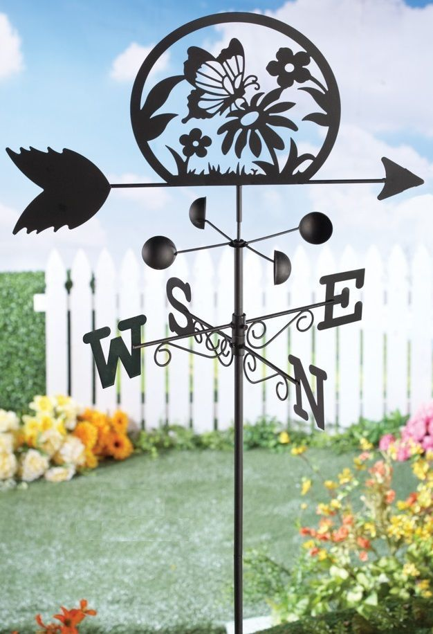 Decorative Metal Weathervane Floral Butterfly Silhouette 5 Ft Yard Garden  Stake #Unbranded