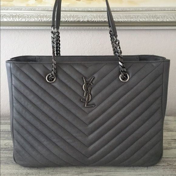 Ysl Gray Silver Tote With Chain Handles 100 Authentic