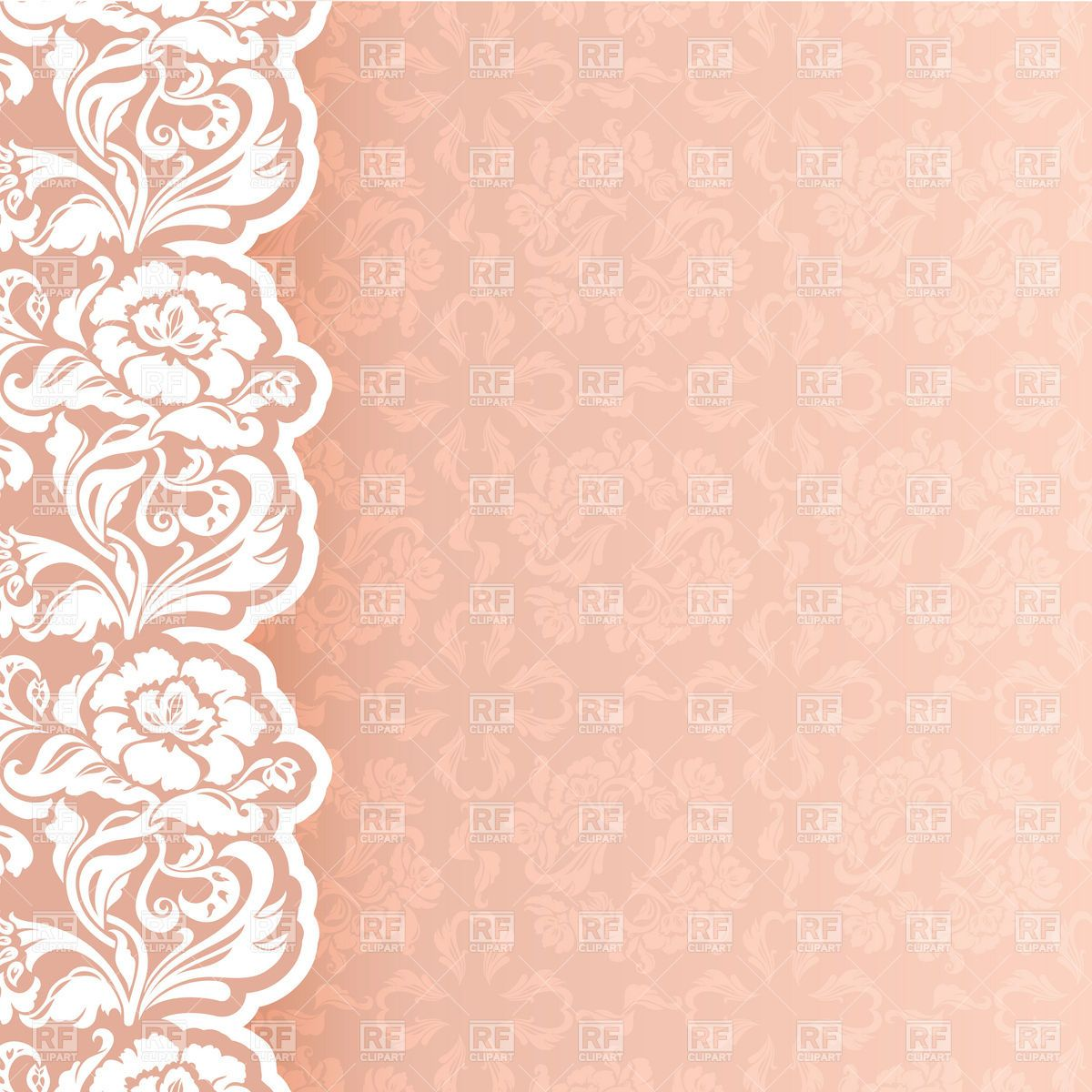 Flower And Lace Border Clip Art Background With Delicate Newborn Or Wedding Invitation