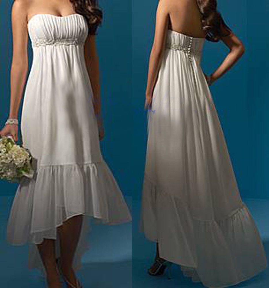 Short beach wedding dresses high low bridal gown short front long