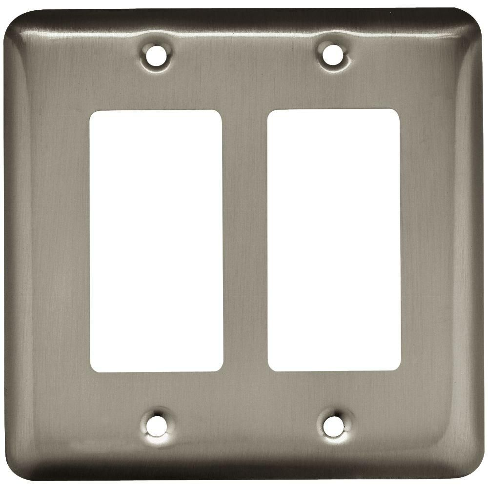 Stamped Round Decorative Double Rocker Switch Plate Polished Brass Light Switchplates Outlet Covers Plates Wallplates Wall