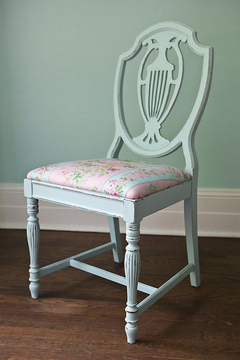 Shabby Chic Vintage Chair Oval Back Spindle Aqua Blue ...