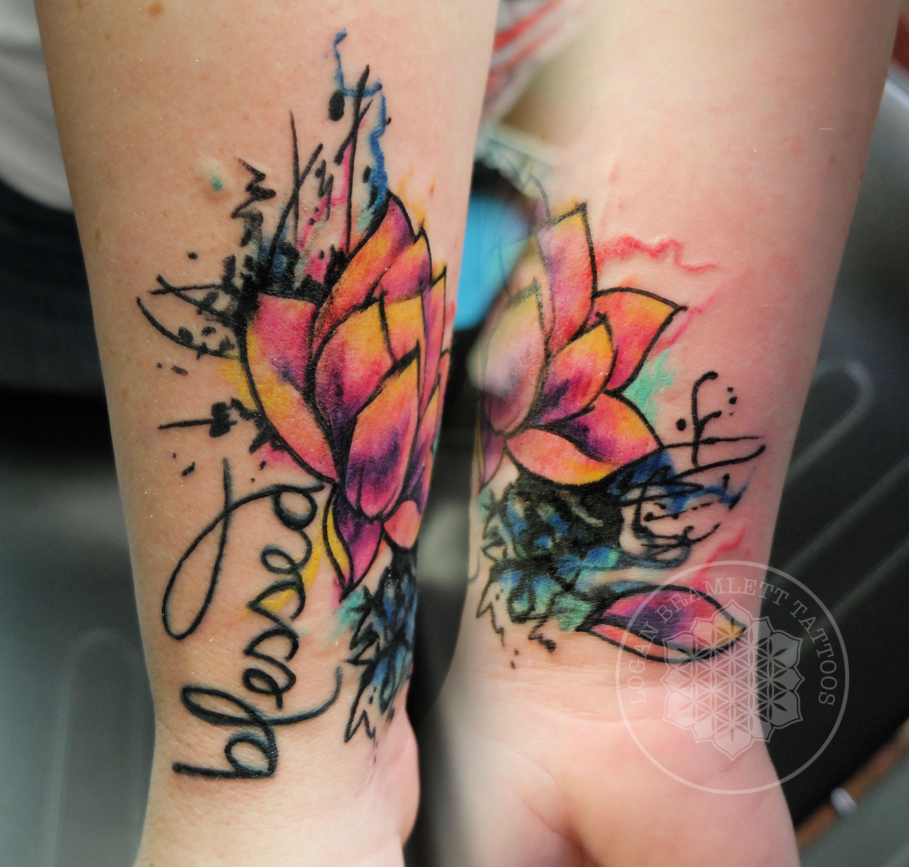ABSOLUTELY LOVE THIS. watercolor lotus coverup tattoo by Logan ...
