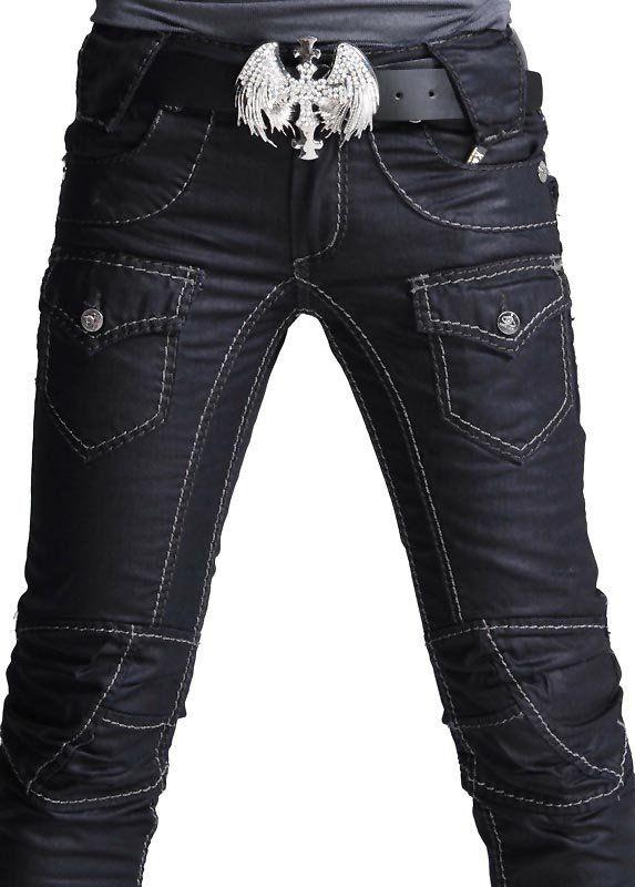1e2df72a Rocker Fashion For Men   ... mens Punk Skull Denim Straight Baggy rock Pants  punk styles no 001K013