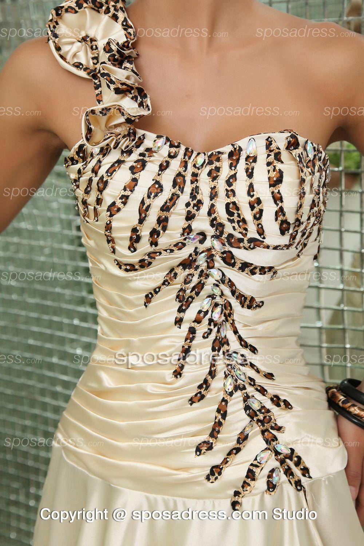 Ivory One Shoulder Ruched Sequined Fashion Designer Prom Dress
