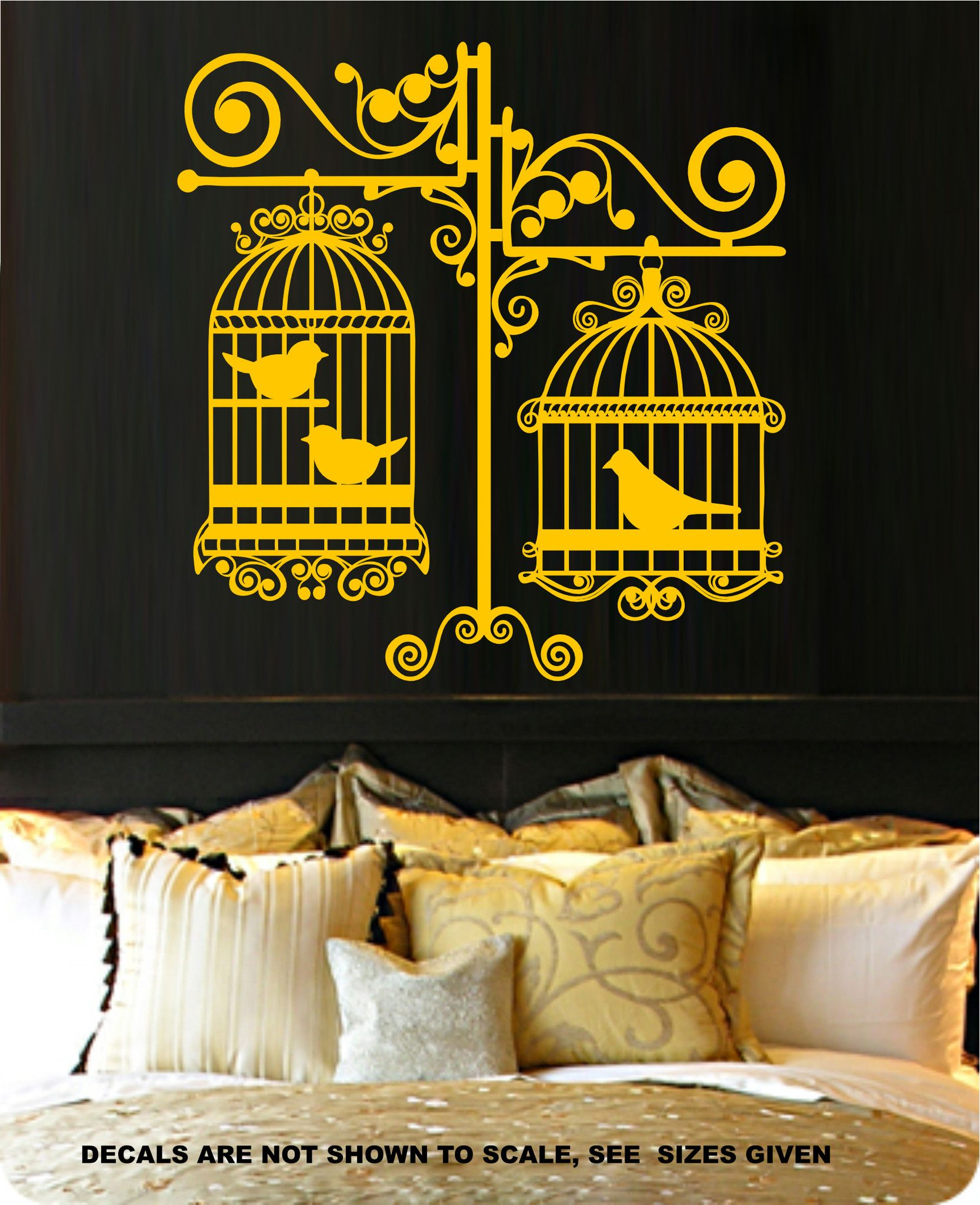BIRD CAGES SILHOUETTE BEDROOM TYPE 5 WALL ART STICKER MEDIUM VINYL ...