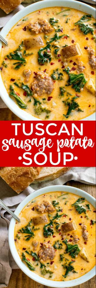 Tuscan Sausage Potato Soup #sausagepotatoes