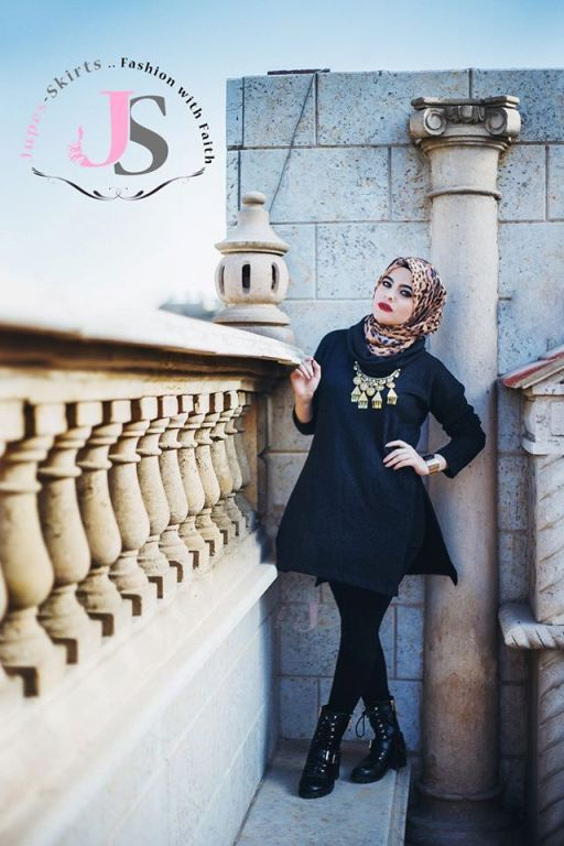 black hijab outfit, Winter hijab fashion from Egypt http://www.justtrendygirls.com/winter-hijab-fashion-from-egypt/