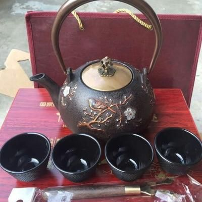 Japanese Cast Iron Tea Pot Set, 0.9L,1.1L,1.2L handmade, in gift box IH0029 #teapotset
