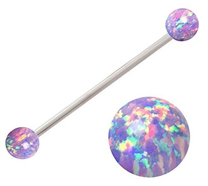 Sparkling synthetic Purple fire Opal Industrial Barbell piercing bar jewelry ring Earring 14g 14 gauge 138 Jewelry  Sparkling synthetic Purple fire Opal Industrial Barbe...