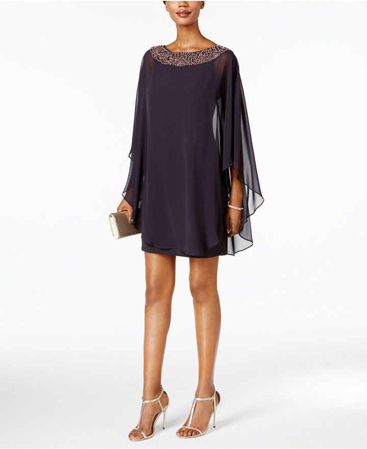 1ae59de22a1 Xscape Embellished Chiffon Cape-Overlay Dress