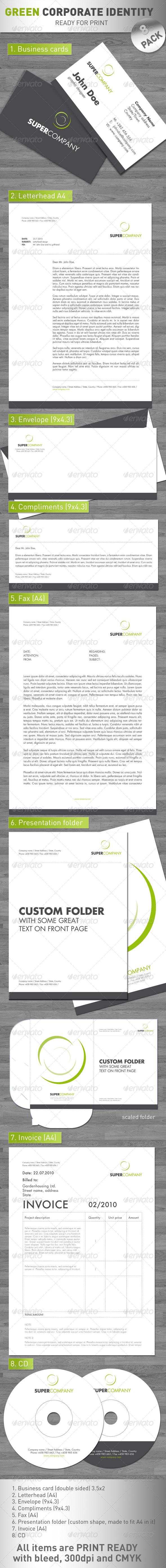 Green Corporate Identity 8 Pack Corporate Identity Custom Folders Print Templates