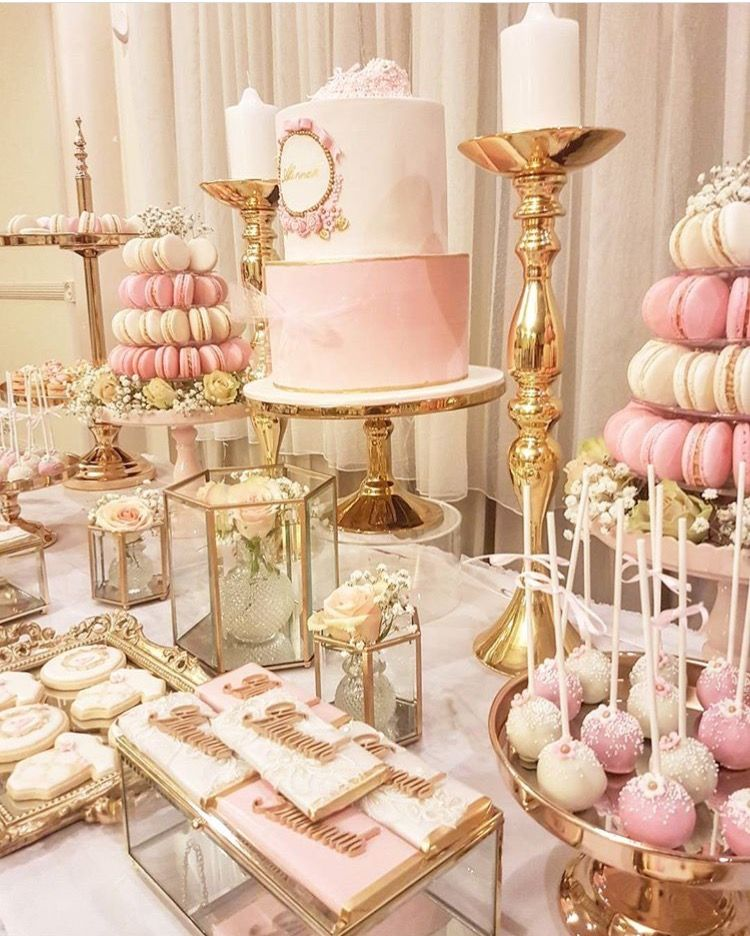 Top Cake Baby Shoes Pink Dessert Tables Wedding Dessert Table Sweet 16 Birthday Party