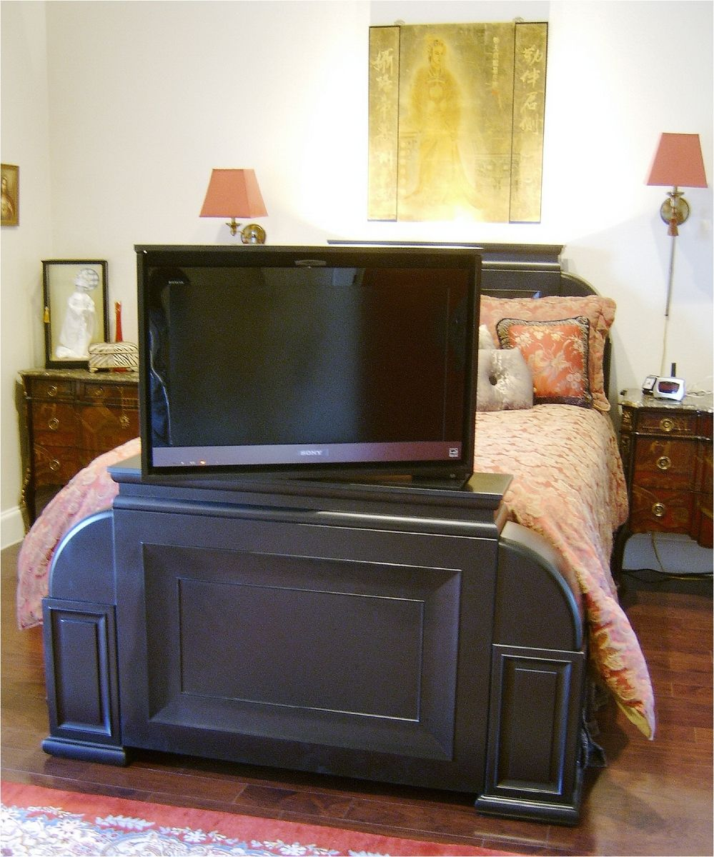 Soft Black Asian Bed With Automated Jsd Tv Lift Swivel Tv Lift
