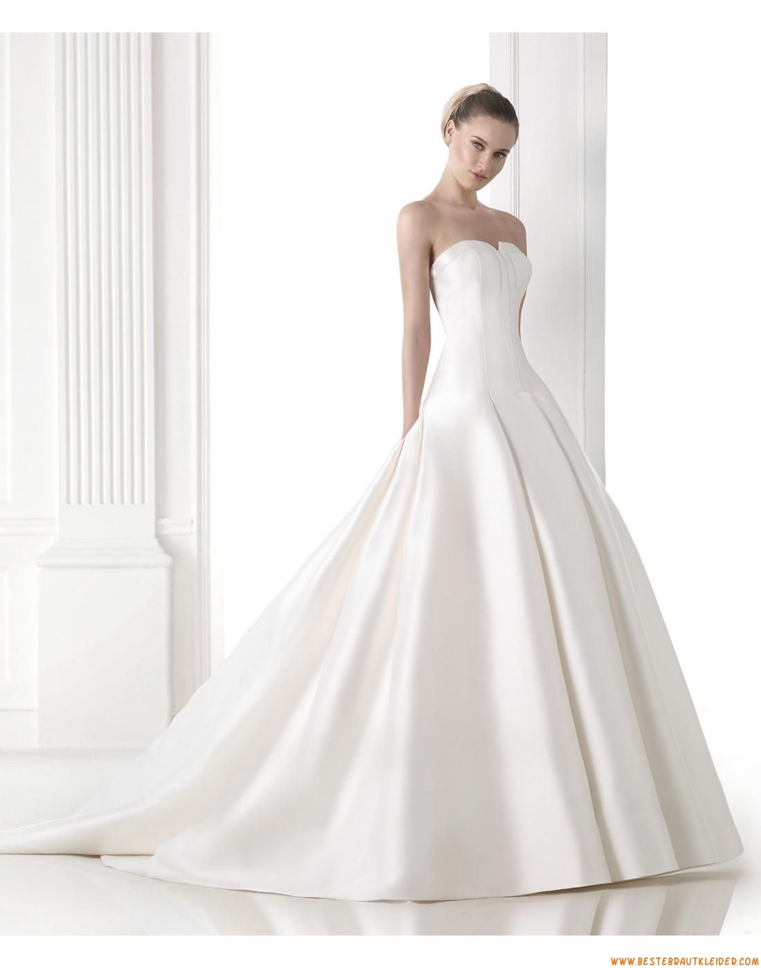 Schlichte Besondere Brautkleider aus Taft mit Schleppe ...