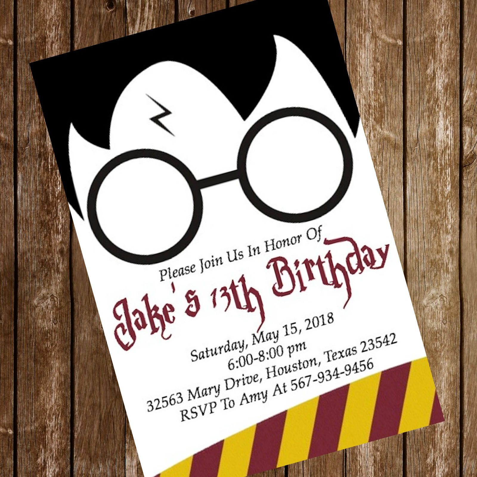 Harry Potter Hogwarts Birthday Party Invitation Download 4 x 6 or ...