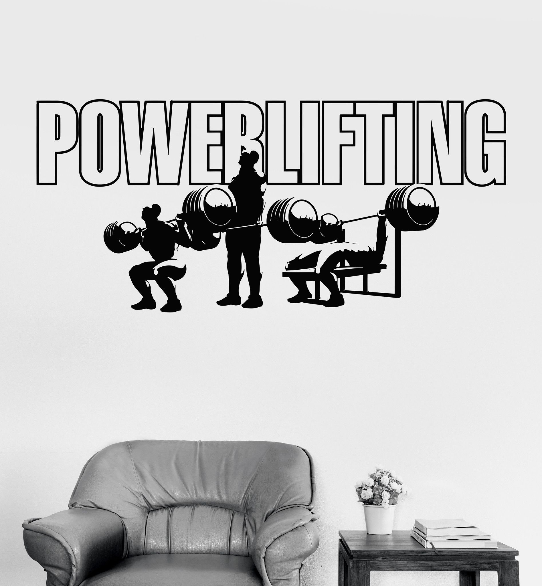 Vinyl Wall Decals Powerlifting Gym Sports Bodybuilding Stickers (Ig3565)