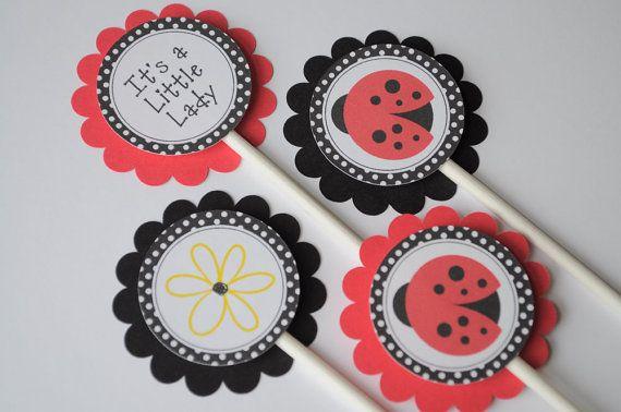 ladybug centerpiece sticks ladybug baby shower decorations ladybug birthday party decorations set of 3 - Ladybug Baby Shower Decorations