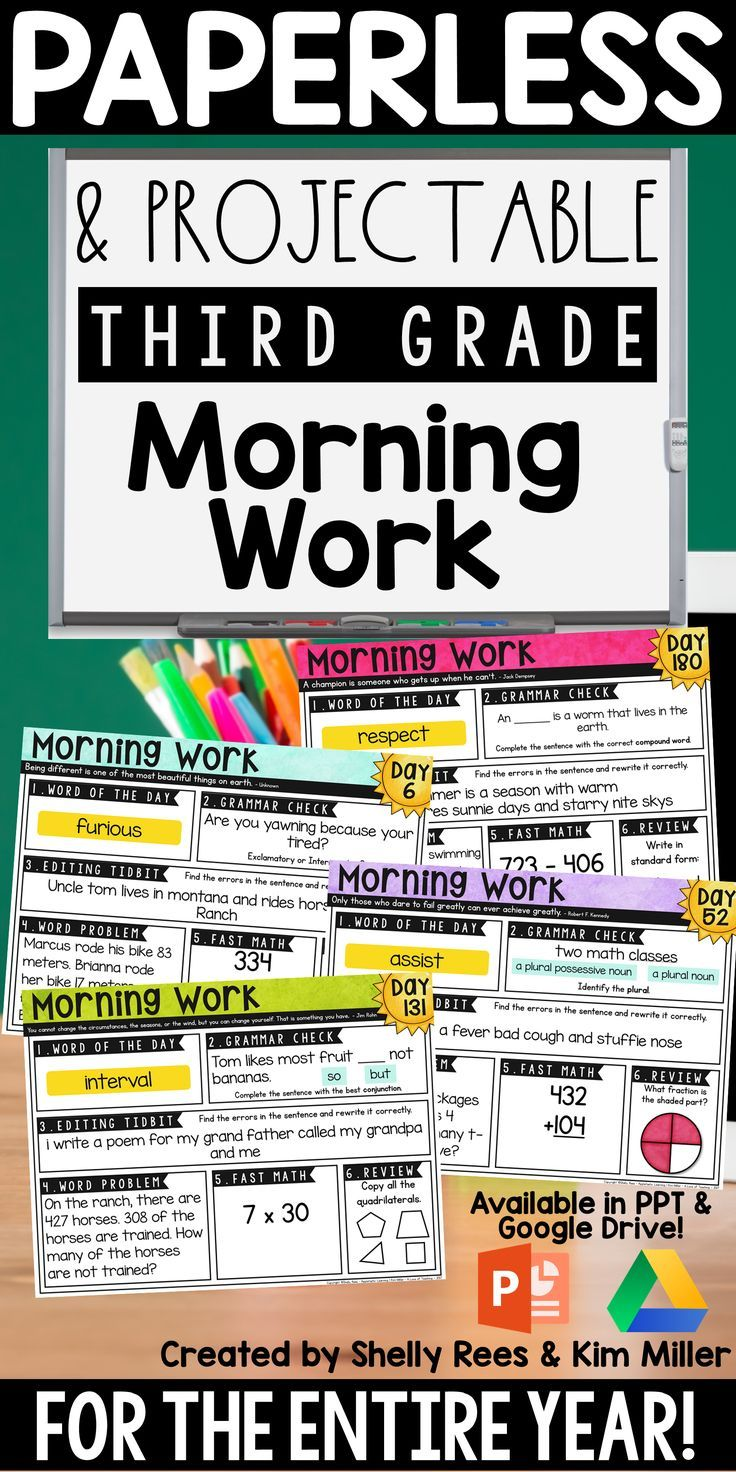3rd grade PAPERLESS \u0026 PROJECTABLE morning work for the entire year!  Includes both math and ELA. Perfec…   Morning work activities [ 1472 x 736 Pixel ]