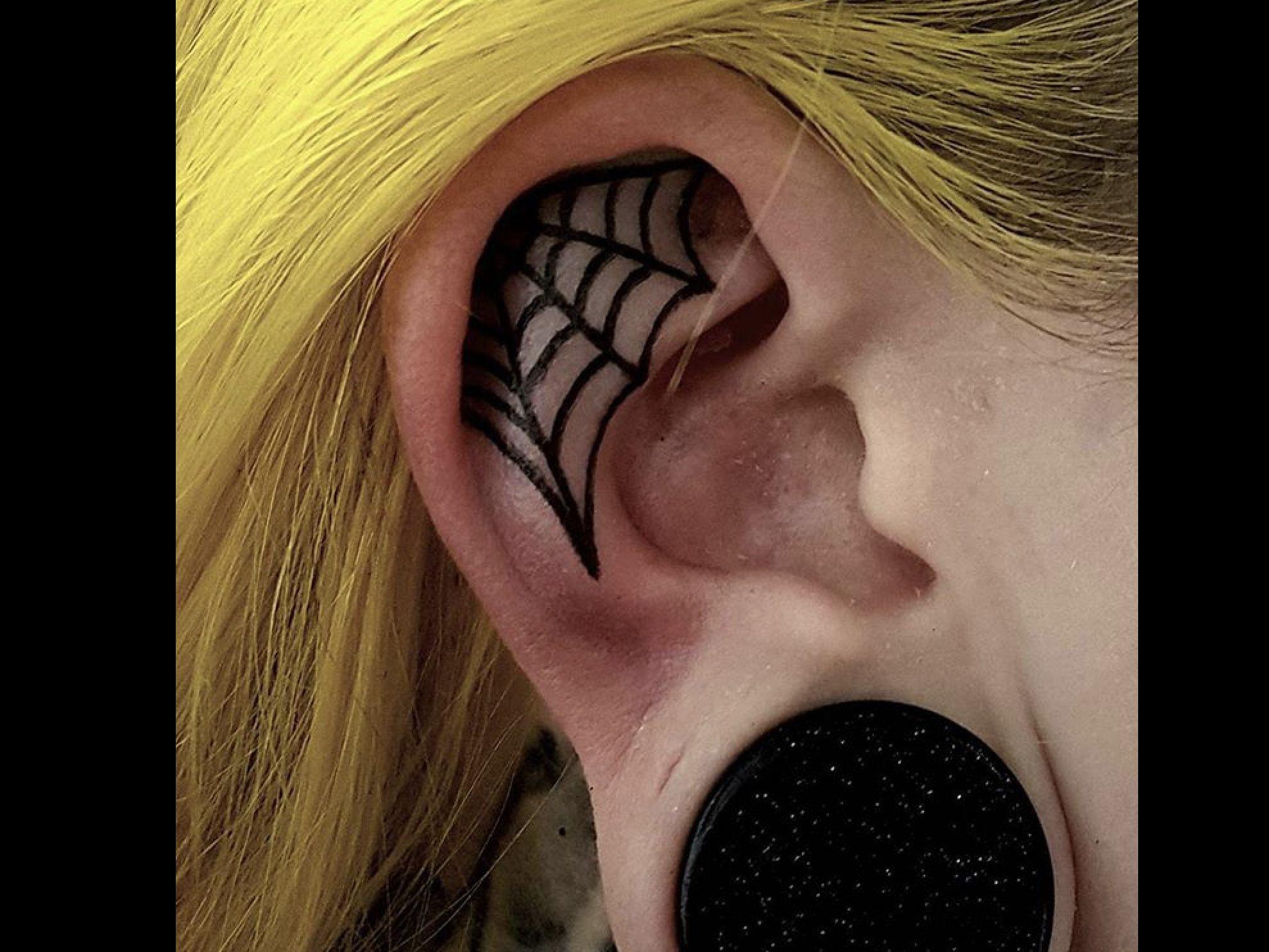 Little Freehand Ear Cobweb Body Art Tattoos Ear Tattoo Gothic Tattoo