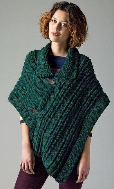 New Free Knitting Pattern For Poncho With Color And Fastened Front