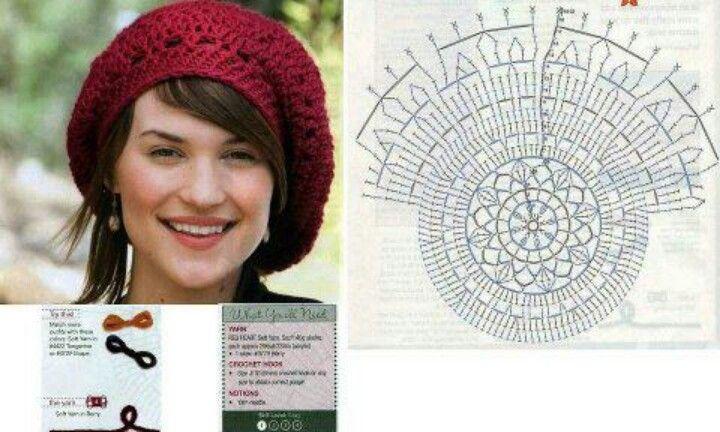 Boina granate | crochet | Pinterest | Granate, Gorros y Tejido