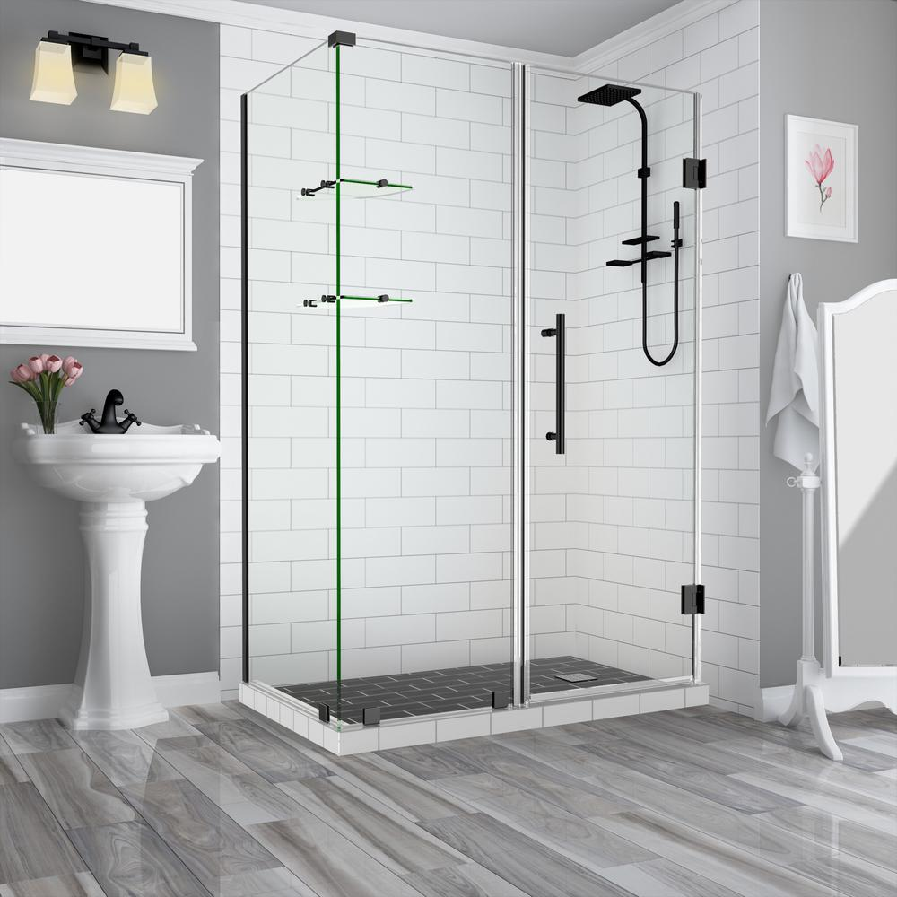 Aston Bromley Gs 62 25 To 63 25 X 30 375 X 72 In Frameless Corner Hinged Shower Enclosure W Glass Shelves In Chrome Sen962ez Ch 633130 10 The Home Depot Frameless Shower Enclosures Shower Enclosure Bathroom Style