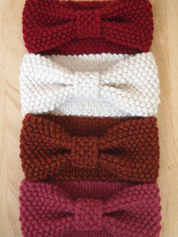 Knit Bow Headwrap Thick Headband Ear Warmer Reversible Headwarmer Head Wrap Beanie | Wool Blend | Fall Winter by Paisley Braids #headwrapheadband