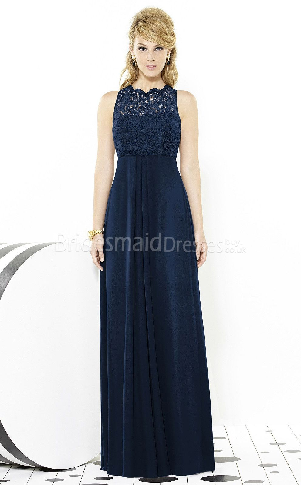 Dark navy scalloped neck lace charmeuse bridesmaid dress ukbd03 dark navy scalloped neck lace charmeuse bridesmaid dress ukbd03 1360 navy blue bridesmaidsmidnight ombrellifo Images