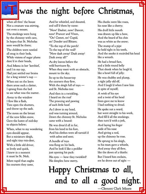 Twas The Night Before Christmas Christmas Poems Happy