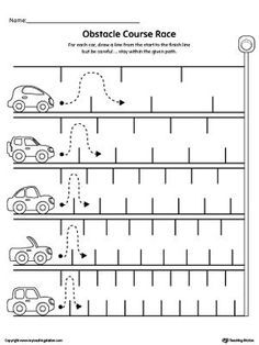 000 Line Tracing Obstacle Course Race Worksheet Writing