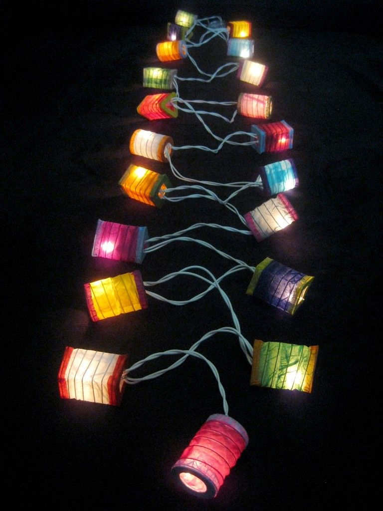 20 MULTICOLOURED Battery Operated Mini Chinese LED String Paper Lanterns  Lights