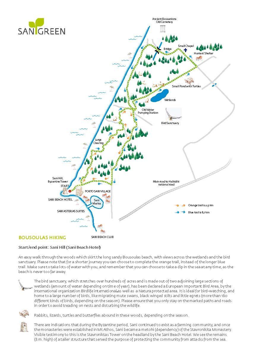Sani Resort Hiking Map Location Halkidiki Greece Sani Greece
