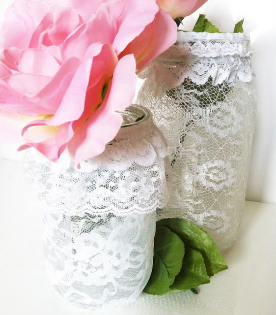 DIY Lace covered mason jars! Super easy.