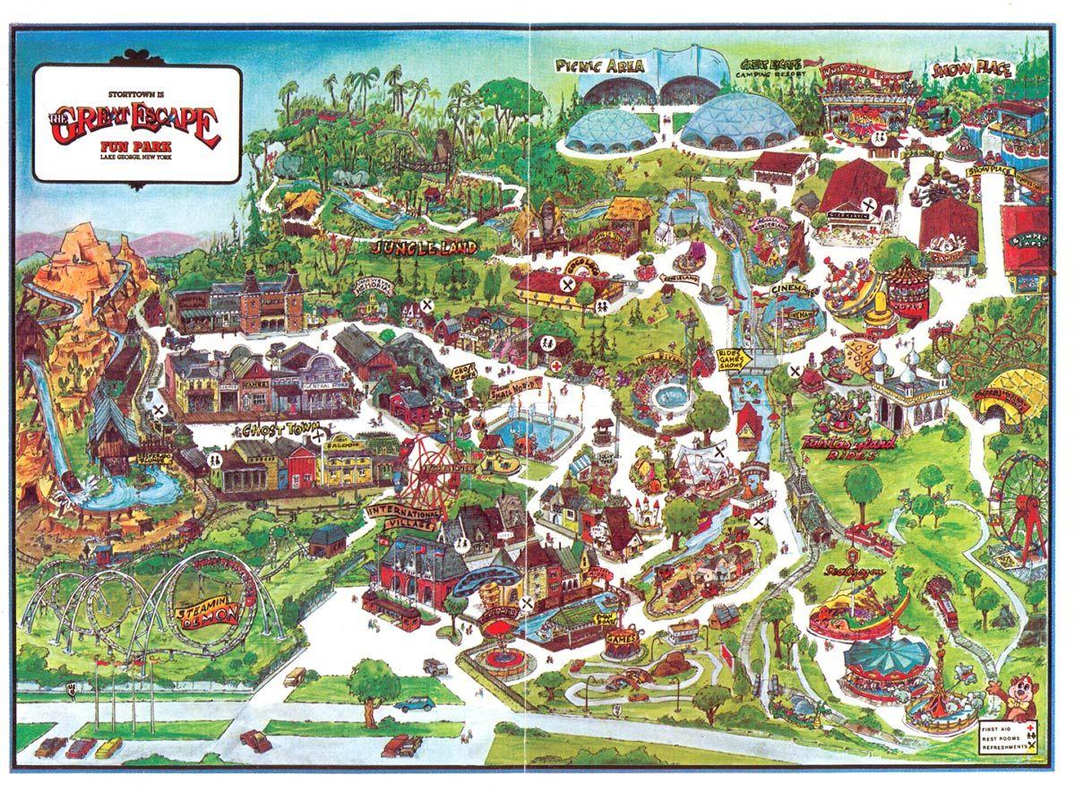 Childhood Amusement Park Theme Park Map The Great Escape Theme Park