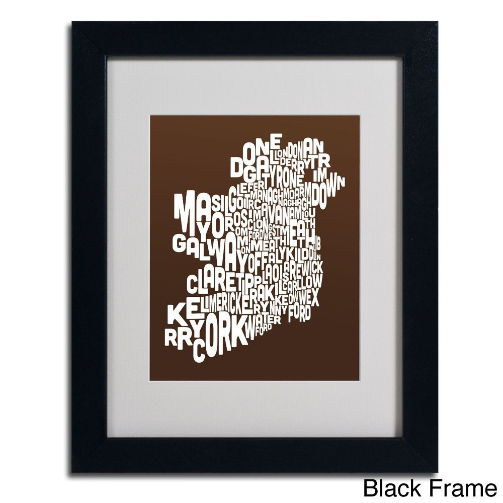 Michael Tompsett \'Chocolate Ireland Text Map\' Framed Matted Art ...
