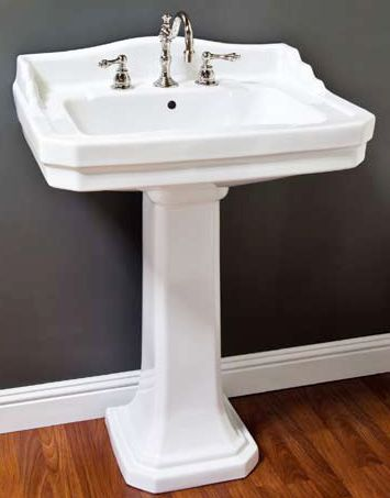 Art Deco Pedestal Sink Made Of Vitreous China Measures Countertop