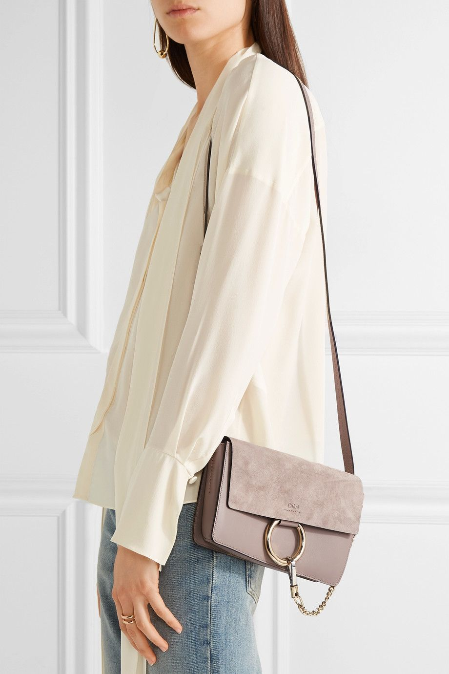 919ee37c Chloé - Faye small leather and suede shoulder bag | bags | Faye bag ...