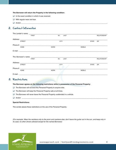 Printable Sample loan contract template Form – Personal Loan Contracts