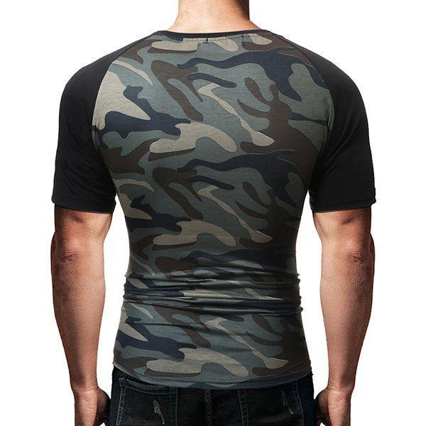 Mens Combat T-Shirt Army Tactical Military Summer Short Sleeve Camo Casual Shirt
