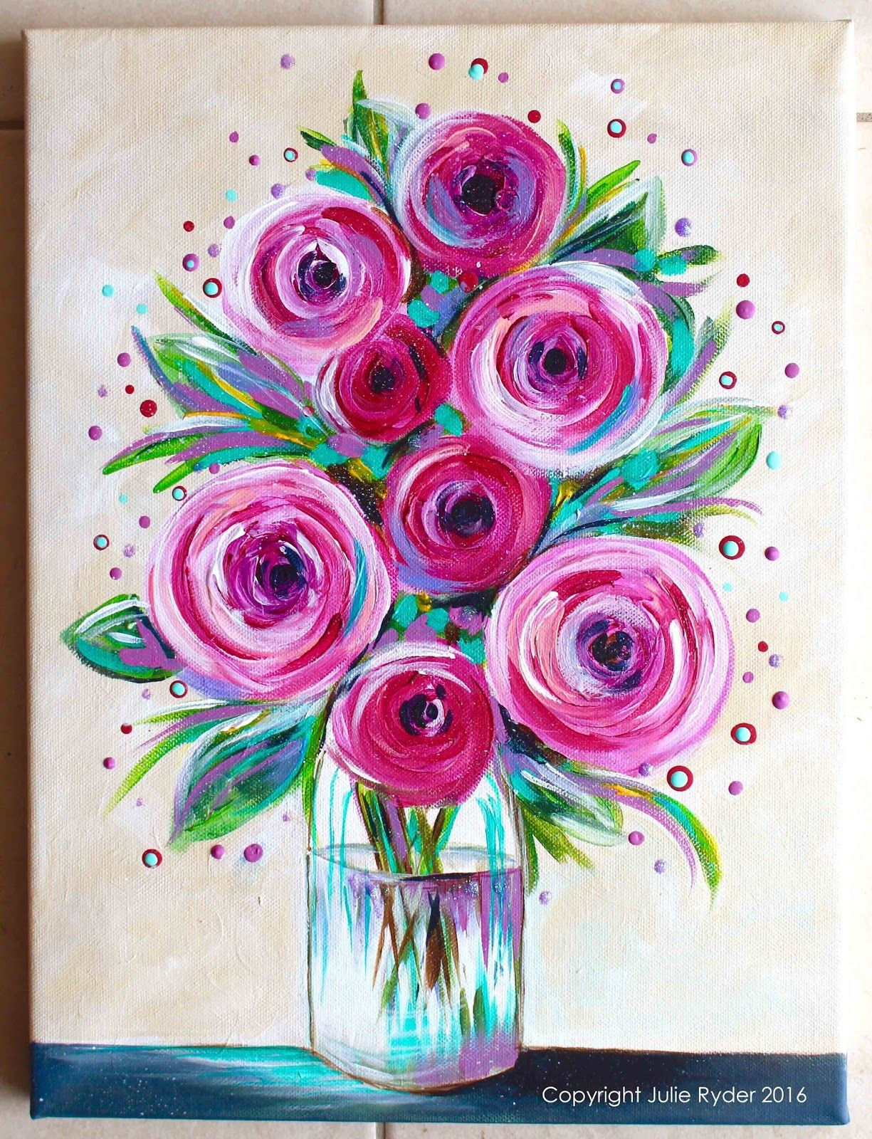 Julie Ryder Flowers And Swirls. Paint Sip Night In 2019 Art Painting